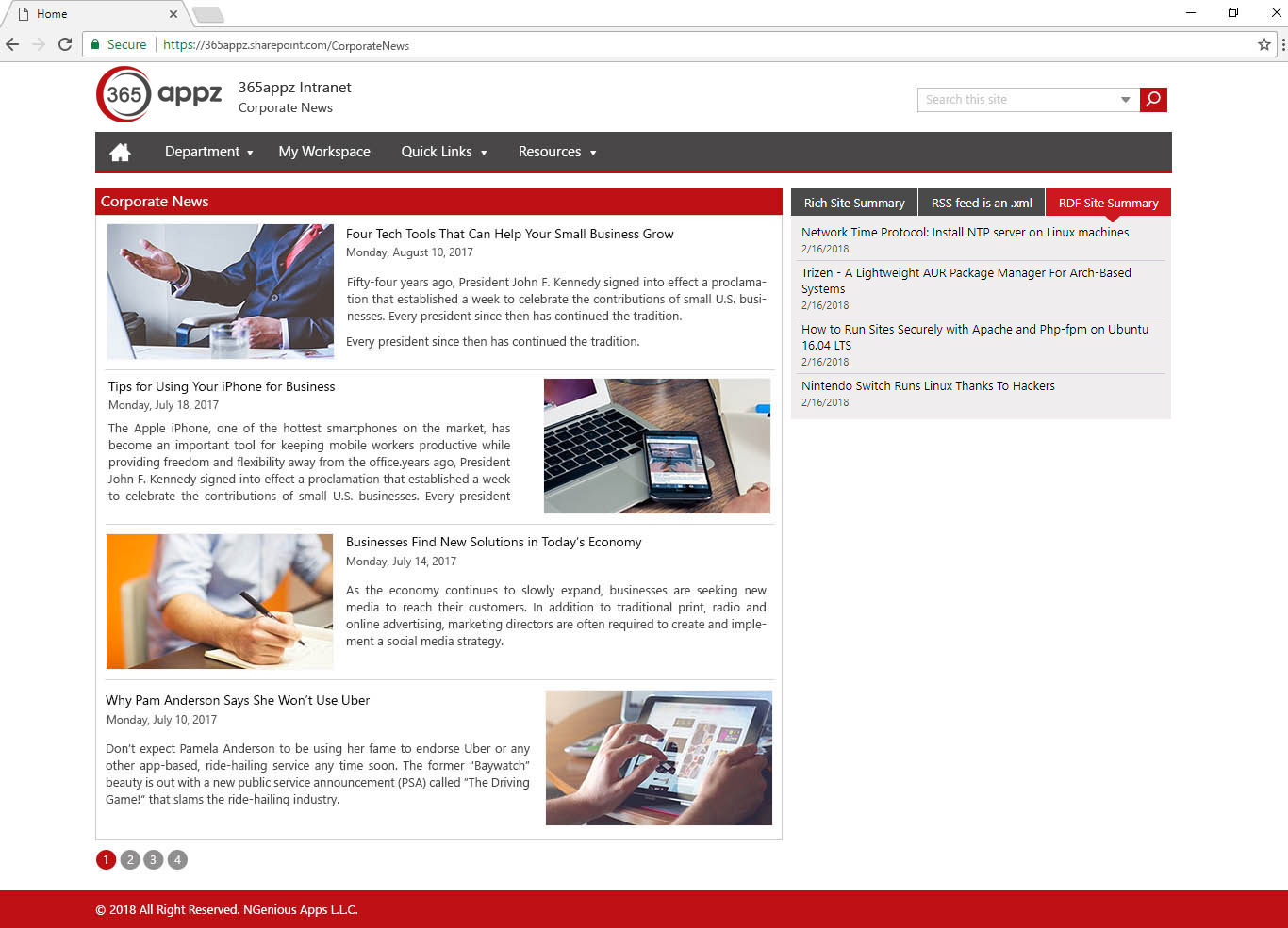 Example corporate news page
