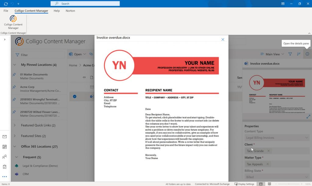 Colligo Content Manager for Microsoft 365 document viewing