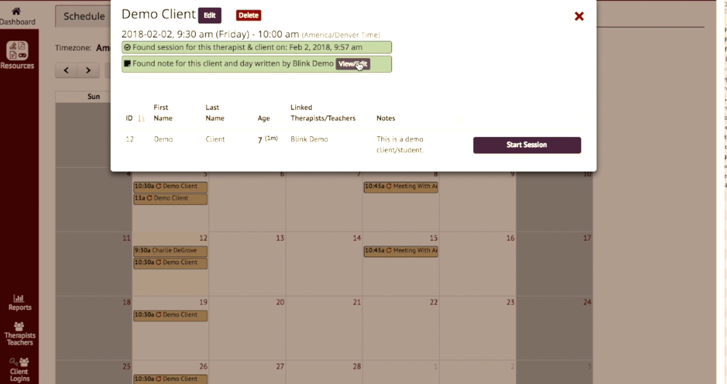 Session details can be viewed from the calendar