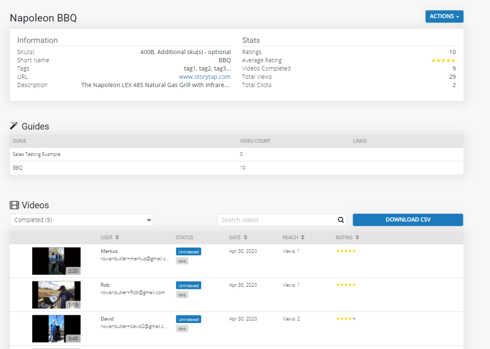 StoryTap Software - StoryTap product page admin