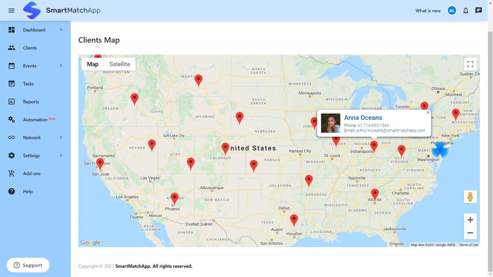 SmartMatchApp Matchmaking Client Map