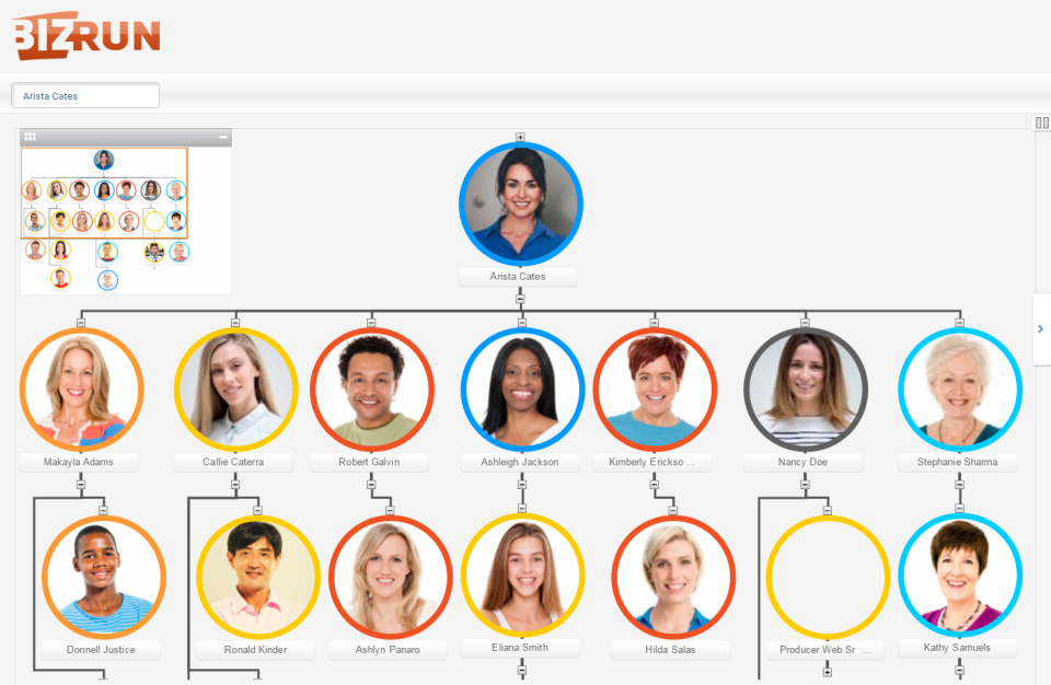 Org charts can be created within BizRun