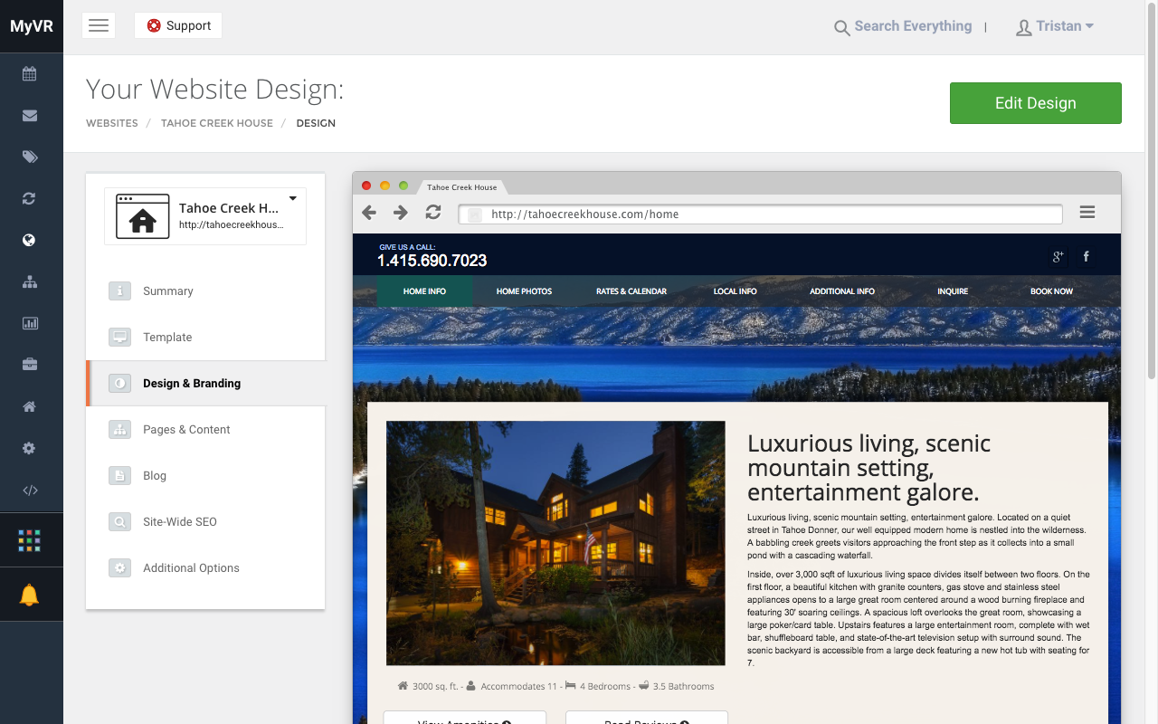 MyVR website design screenshot