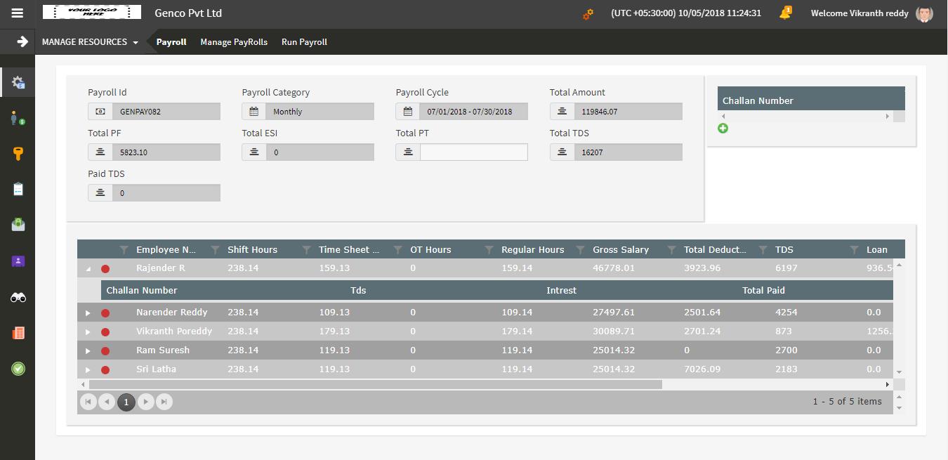 Accountri payroll management screenshot