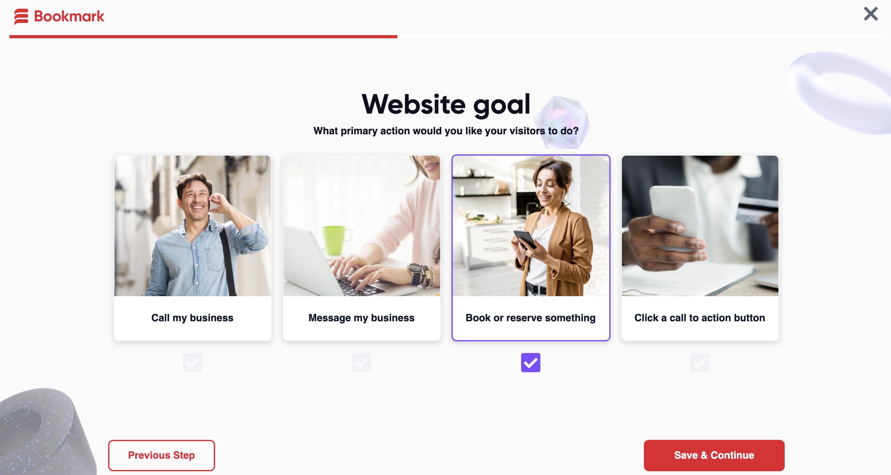 Choose your website goal