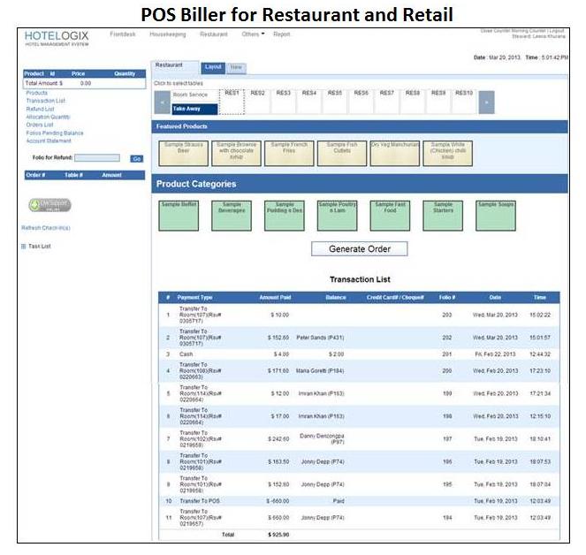 Hotelogix Software - POS biller for restaurant and retail