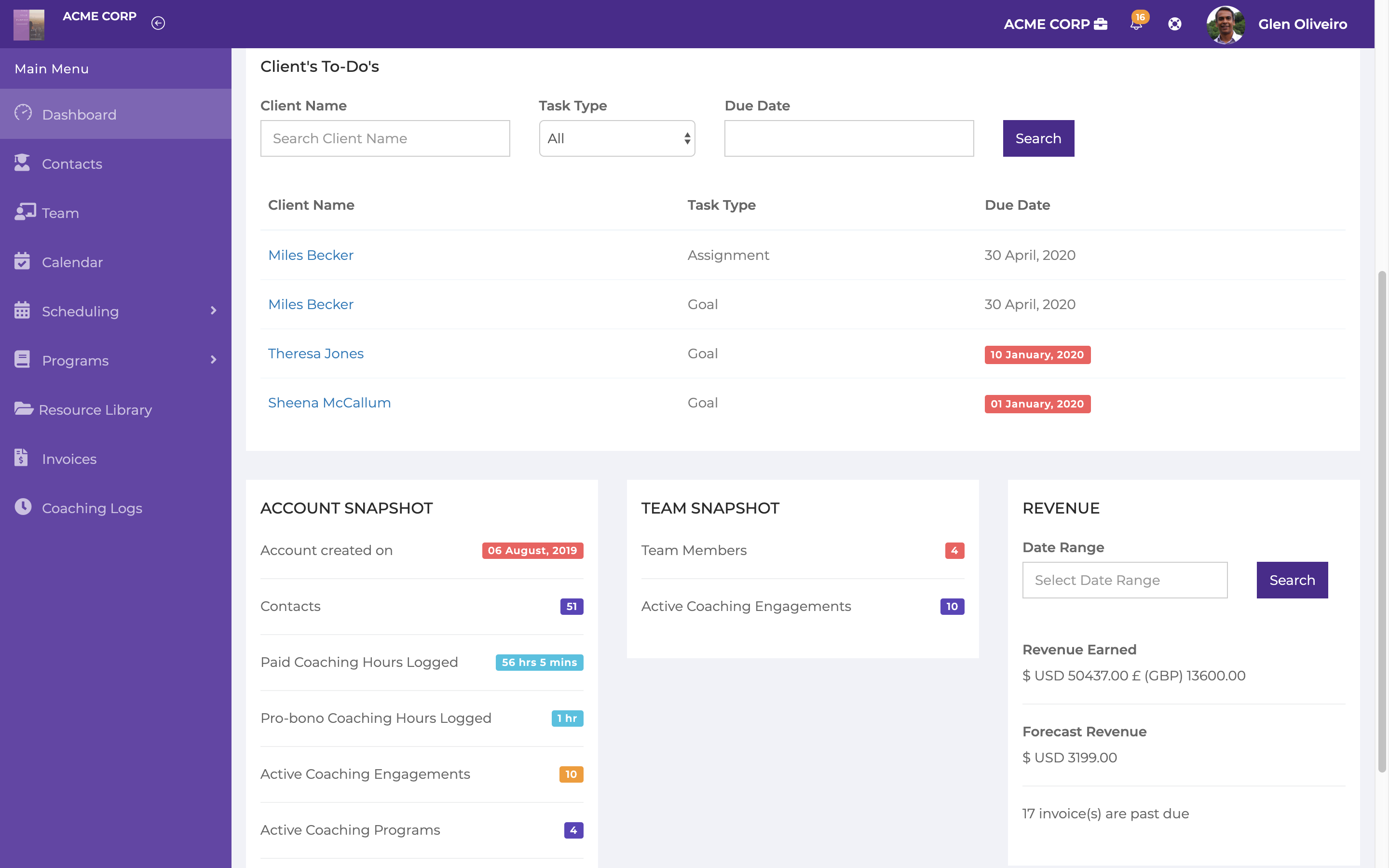 Dashboard gives you a quick view of upcoming appointments, client's to-do list, your coaching hours and revenue earned.