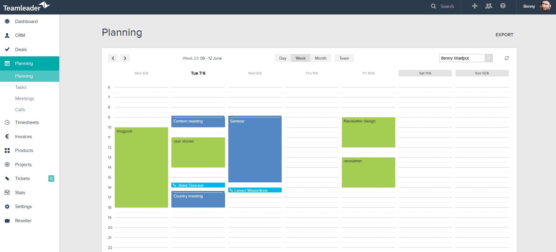 Teamleader screenshot: Calendar