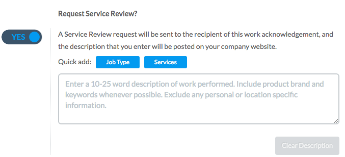 Requesting an online review is part of the service delivery.