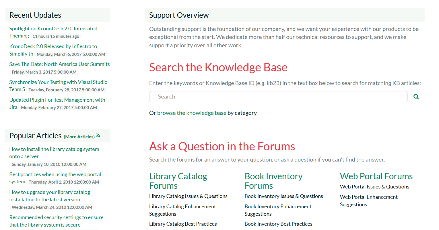Support customer portal, lets users see recent articles, search for answers and see their open help desk tickets
