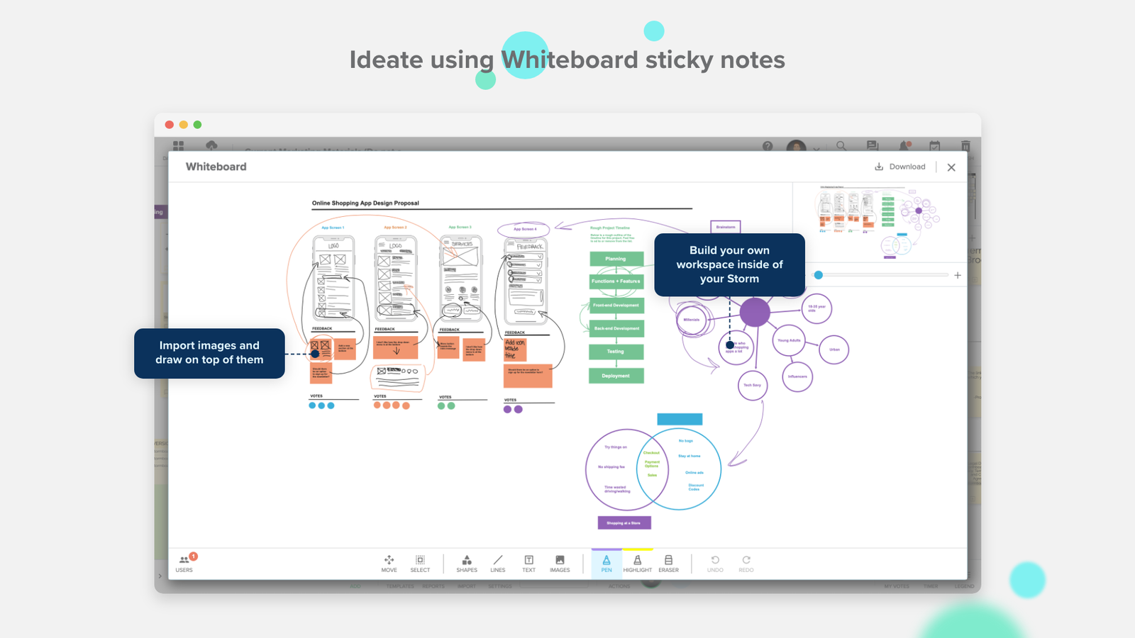 Ideate using Whiteboard sticky notes