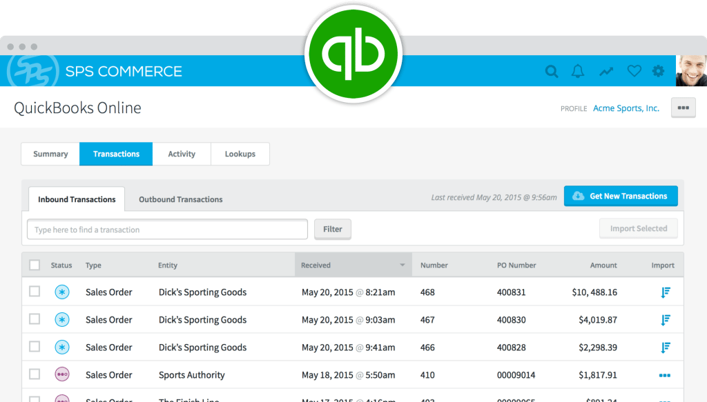 SPS Commerce quickbooks integration