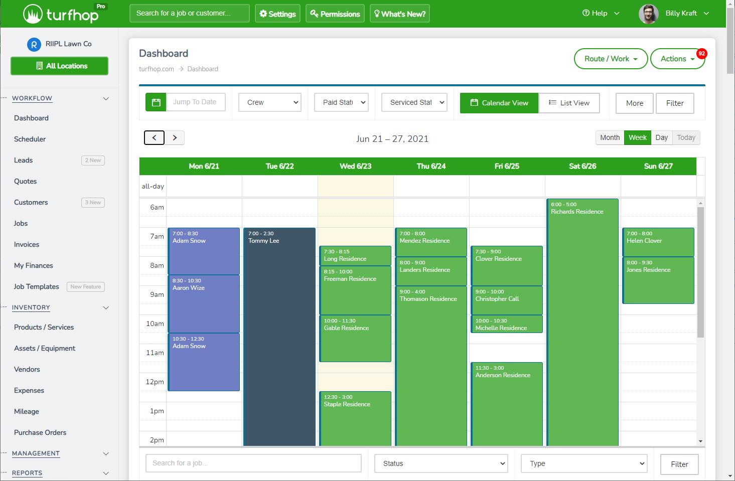 Calendar View Of Jobs - See a weekly breakdown of job schedule