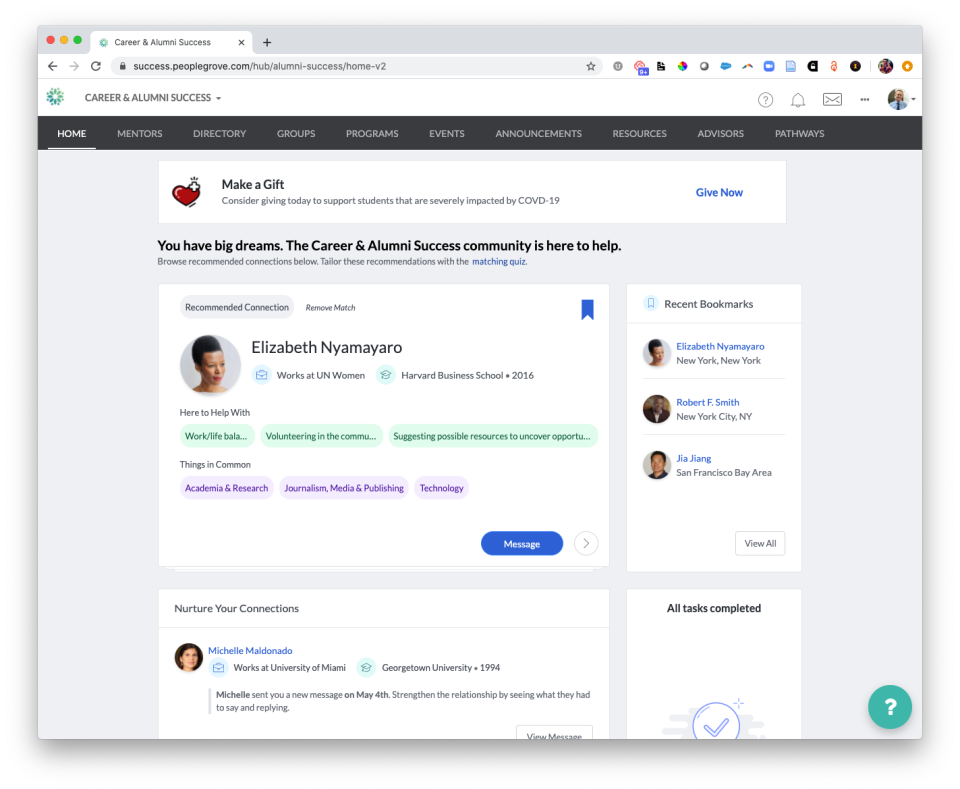 PeopleGrove Software - Home news feed view