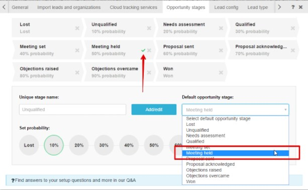 SeoToaster CRM screenshot: Track and manage opportunity stages, from 'meeting set' to 'objections raised' and 'overcame'