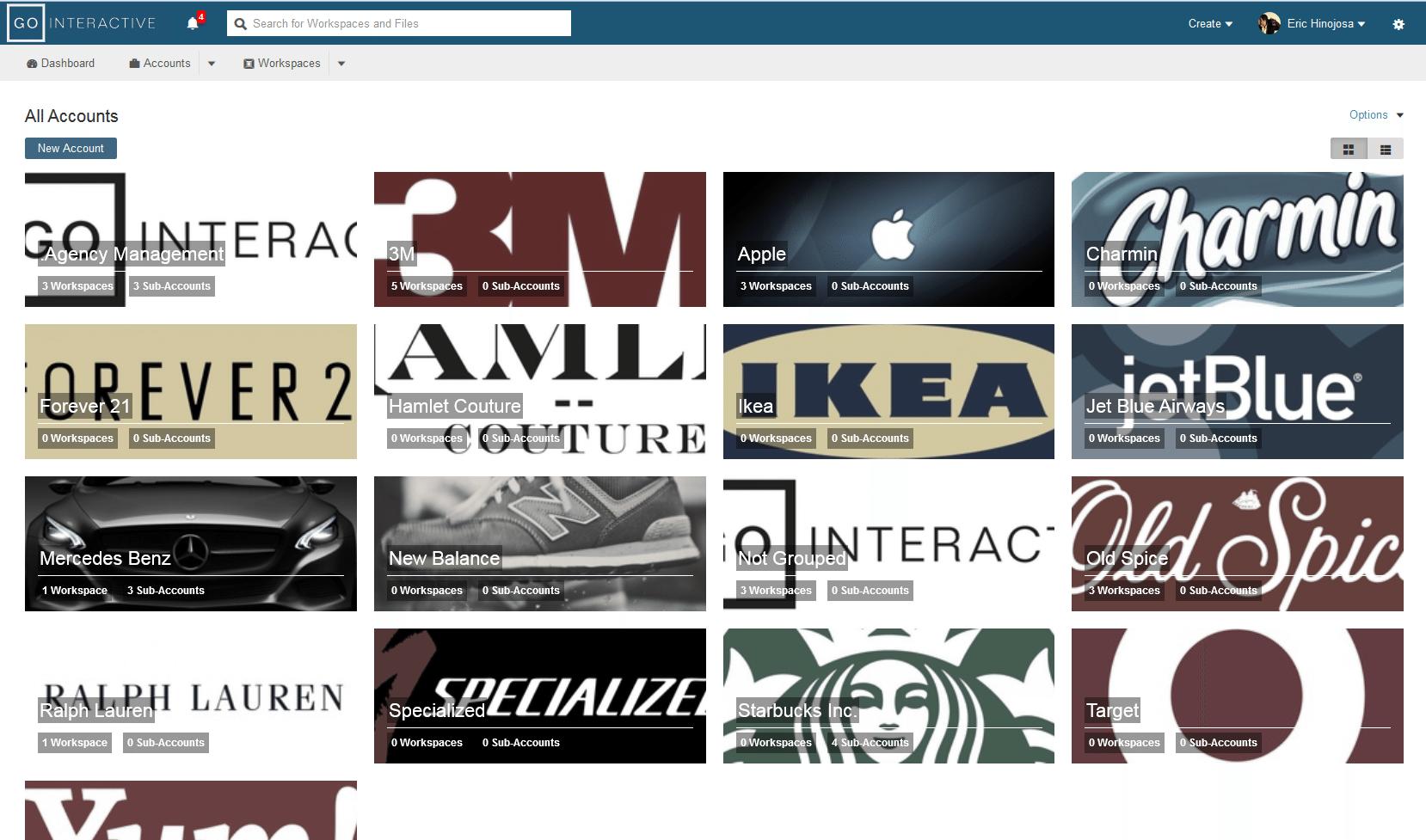 GlobalMeet Webcast screenshot: Account management and dashboards