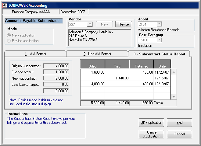 Subcontract Payables
