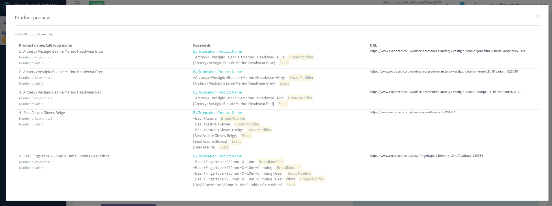 Utilize AdGroups & Keywords preview mode for first 200 products within the campaign
