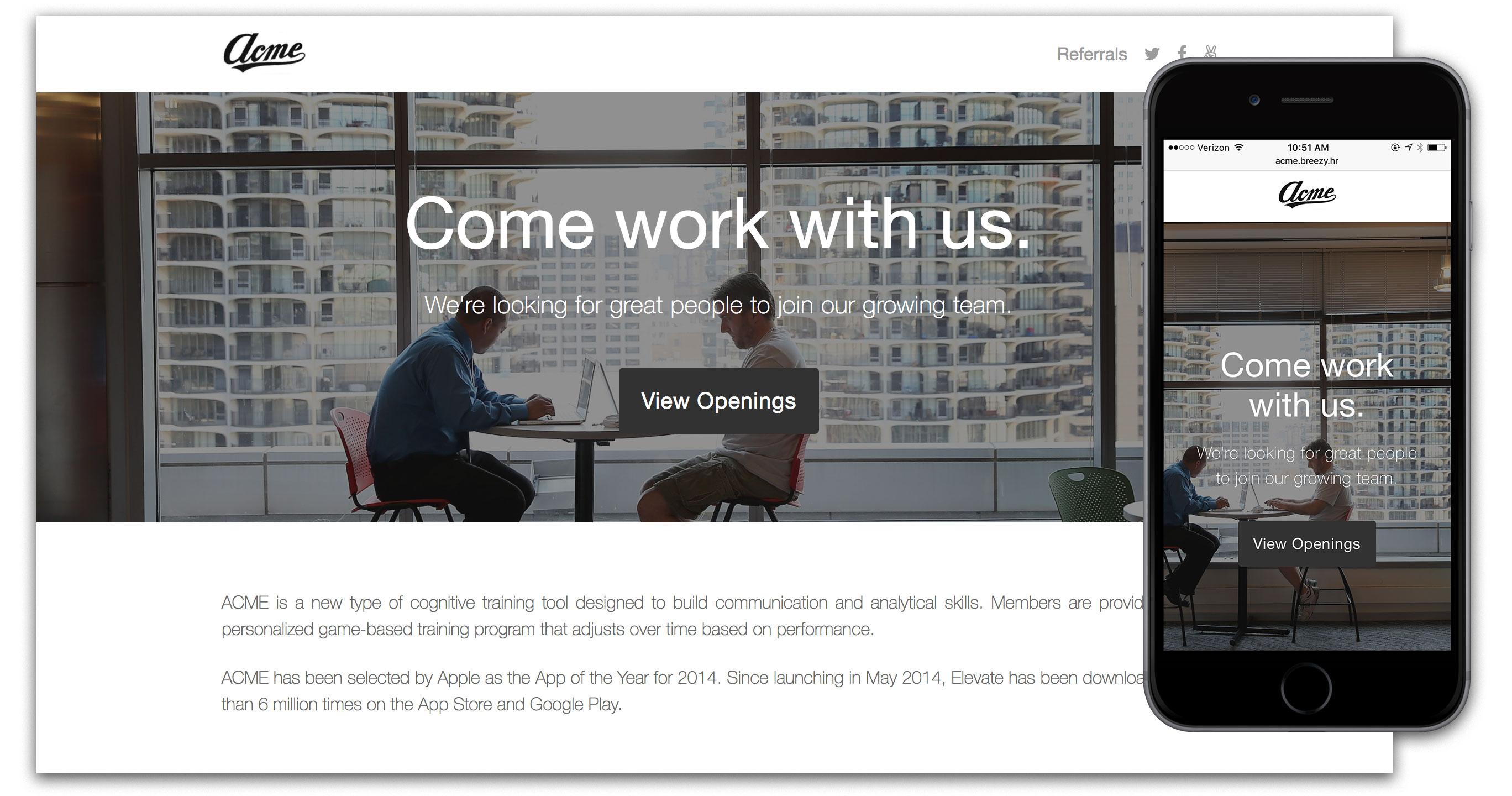 Breezy Software - Beautiful, custom, mobile-optimized career portals