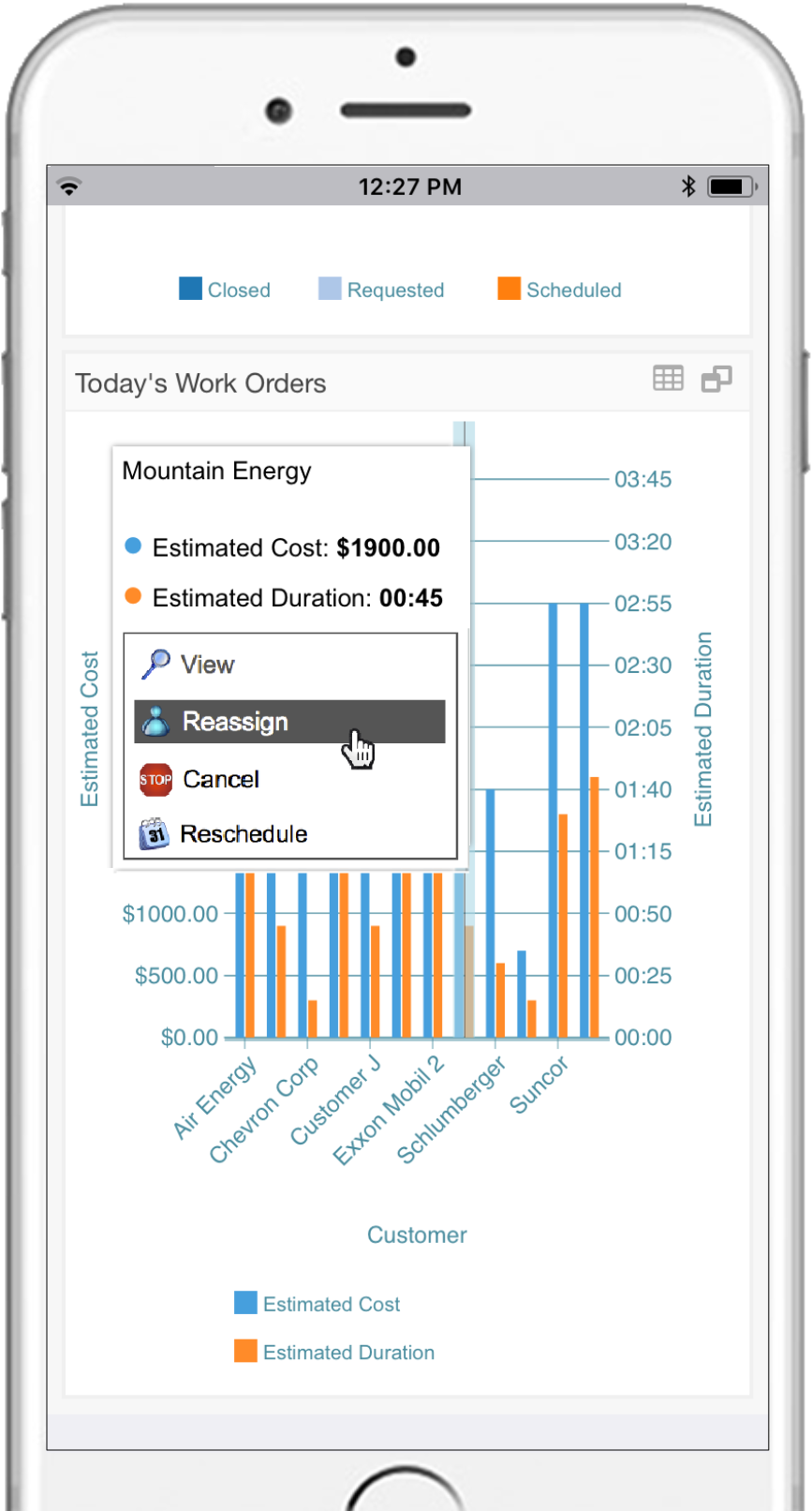 Take immediate action within dashboards. Assign tasks, request more details, and send reports to customers without having to navigate away.