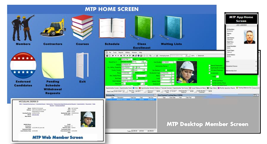 Membership Tracking Program (MTP) screenshot: MTP Home and Member Screens