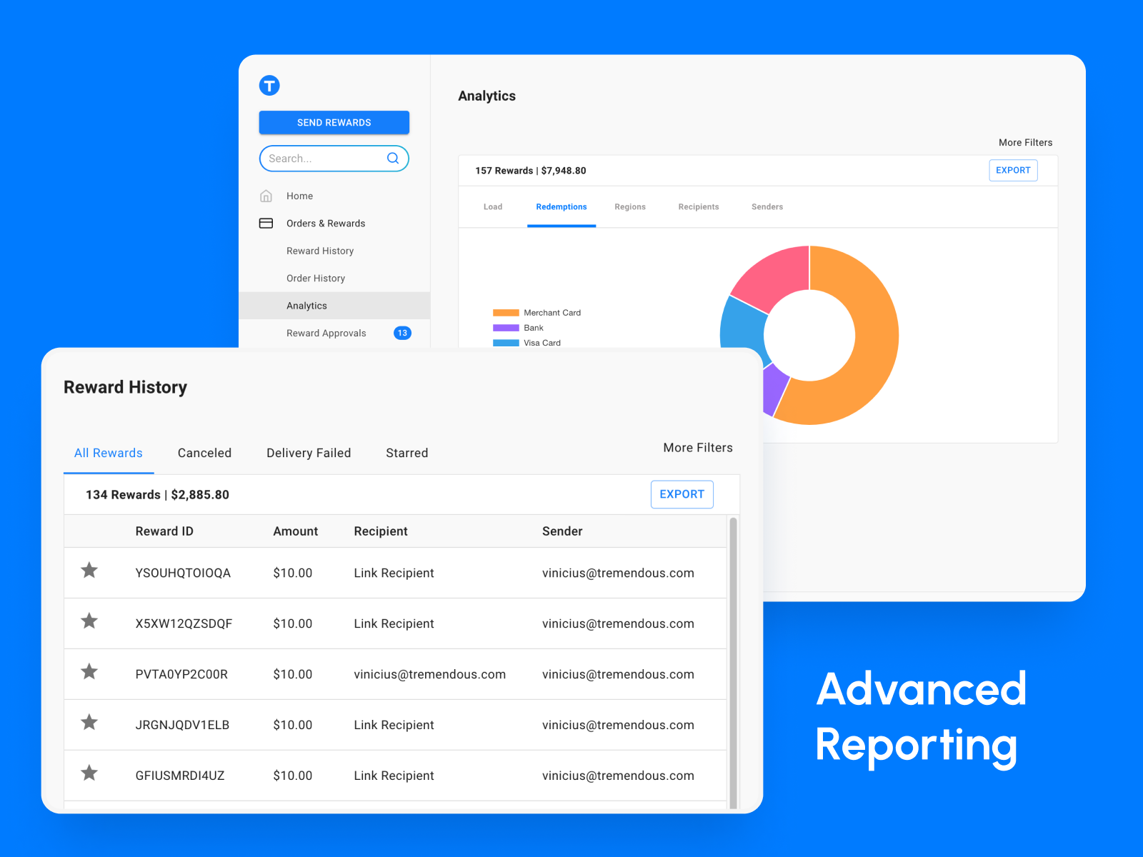 Visualize the preferred redemption options to optimize your campaigns.