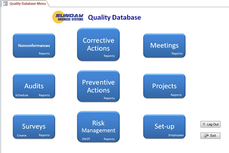 SBS Quality Database Software - Home screen