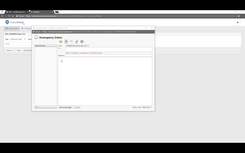 modusCloud Software - Emergency inbox