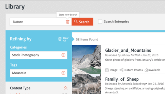 Skyword's built-in digital asset manager (DAM).