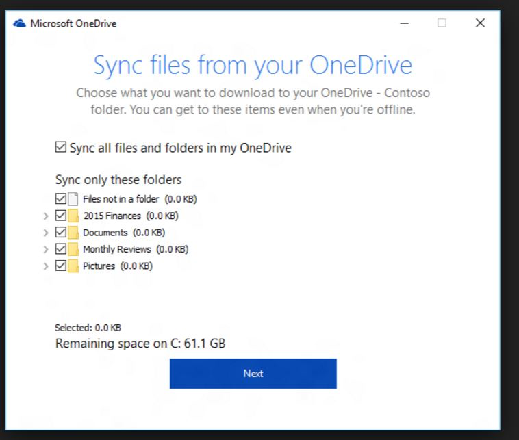 Sync files from OneDrive