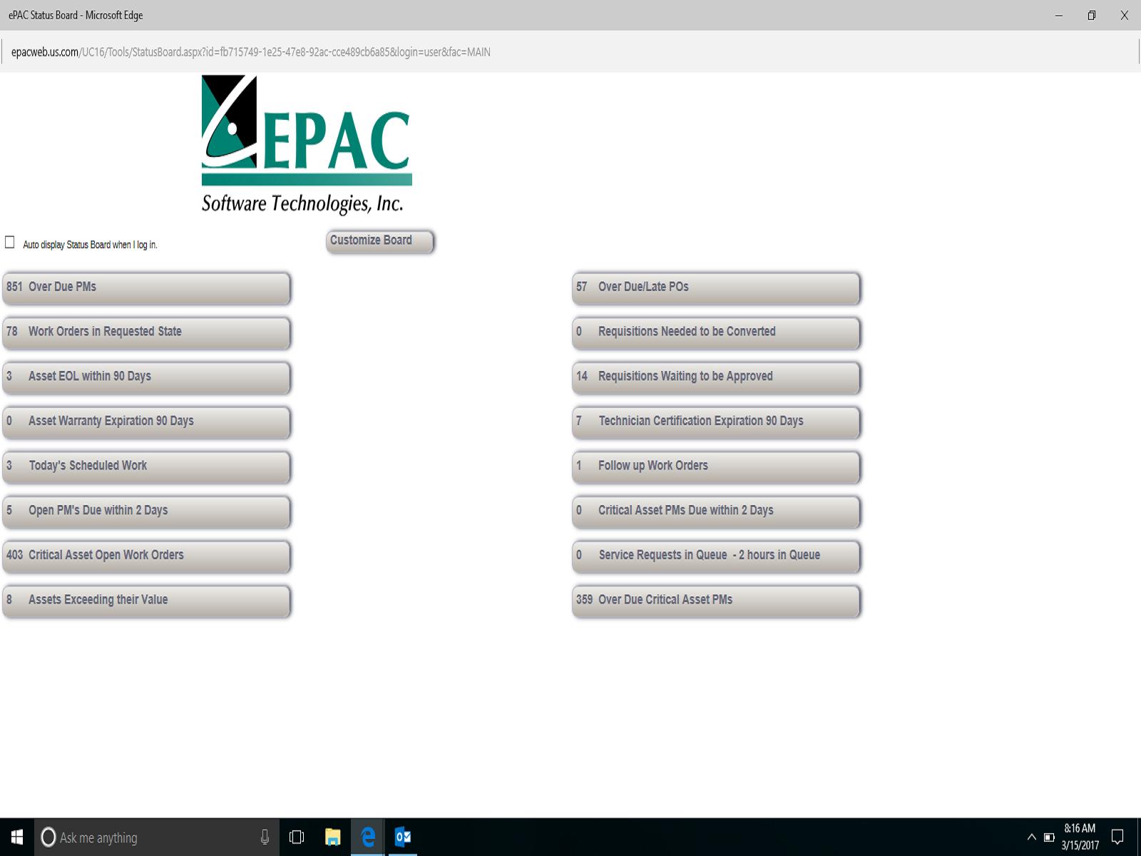 ePAC Software - ePAC status board