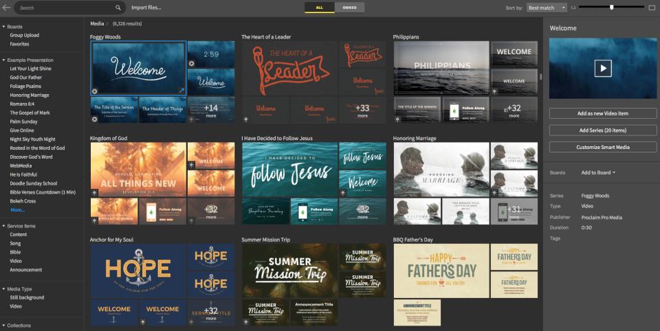 Faithlife Proclaim media browser