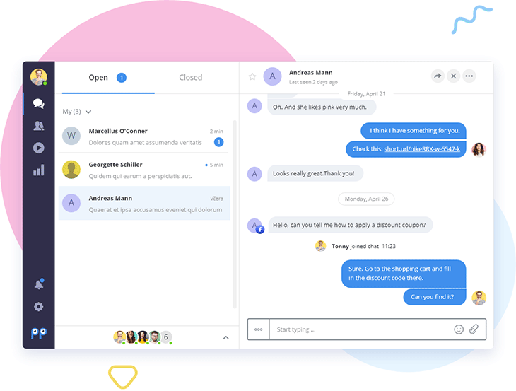 Smartsupp screenshot: Smartsupp dashboard conversation
