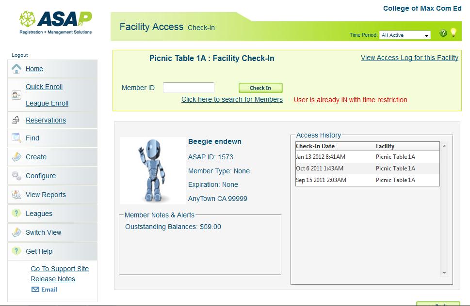 ASAP Software - Facility check-in