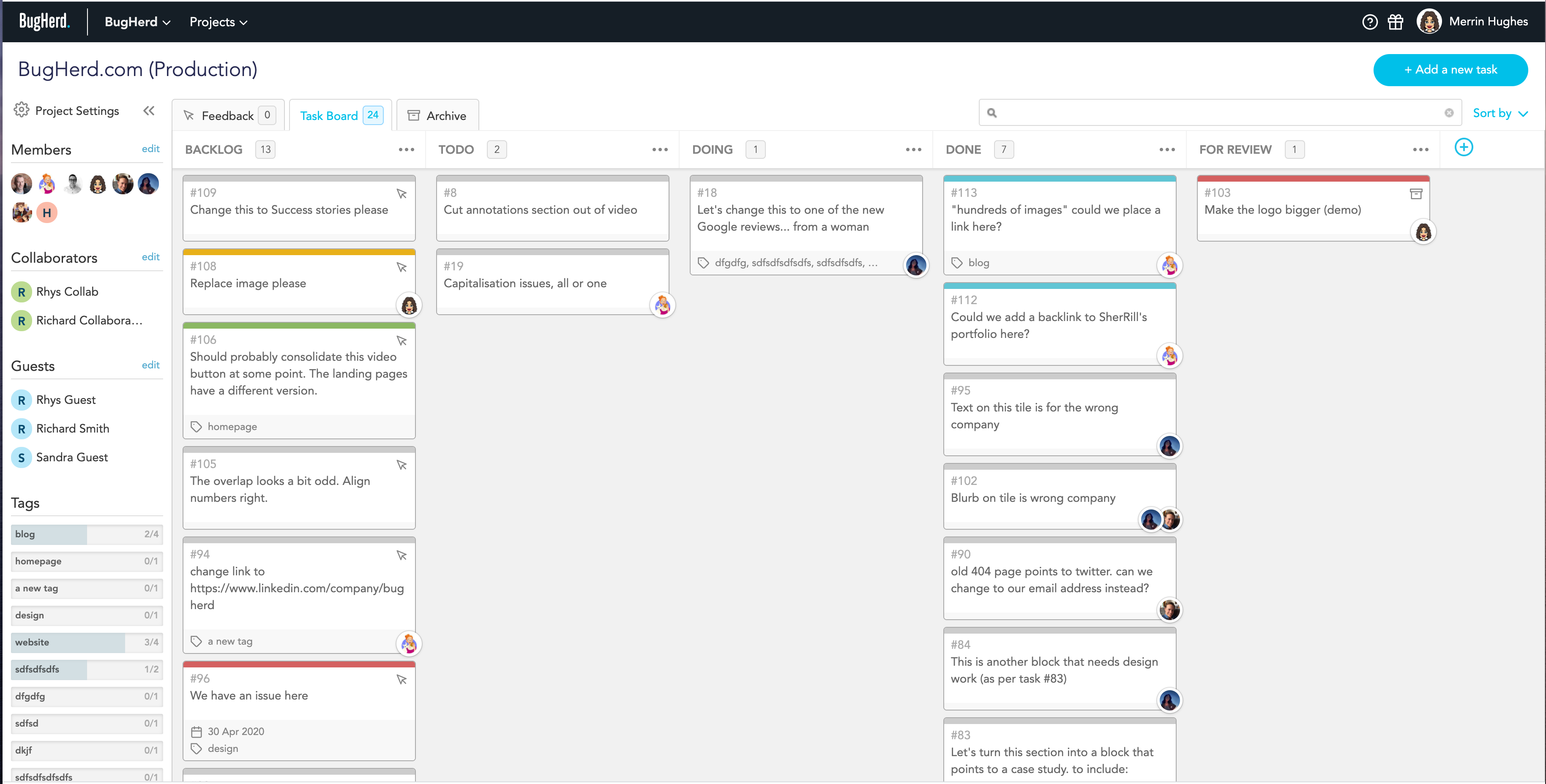 All feedback is collected automatically to your task board, which is customisable to your team workflow.