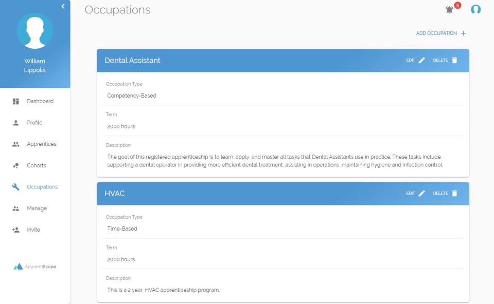 ApprentiScope Software - Occupations