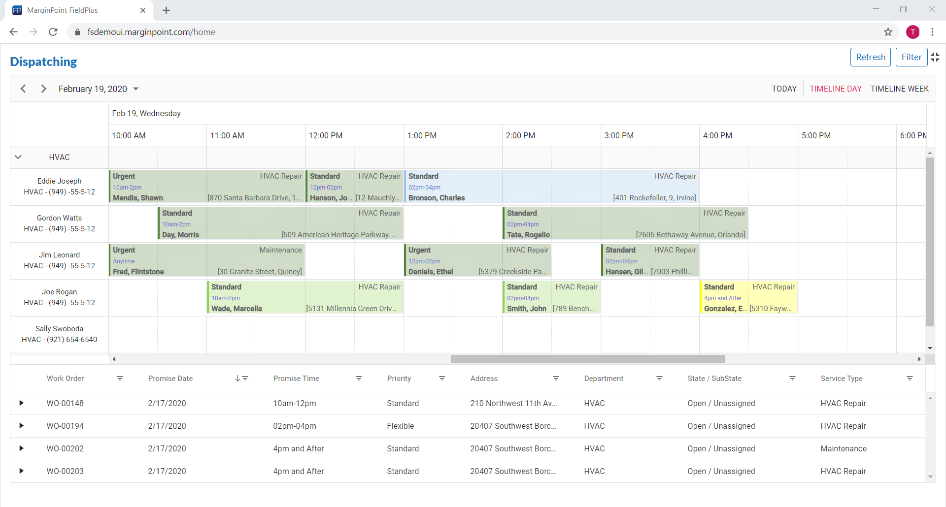 FieldPlus screenshot: Schedule & Dispatch Board