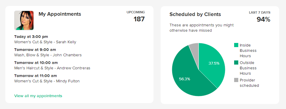 Schedulista screenshot: The homepage includes summaries and reports