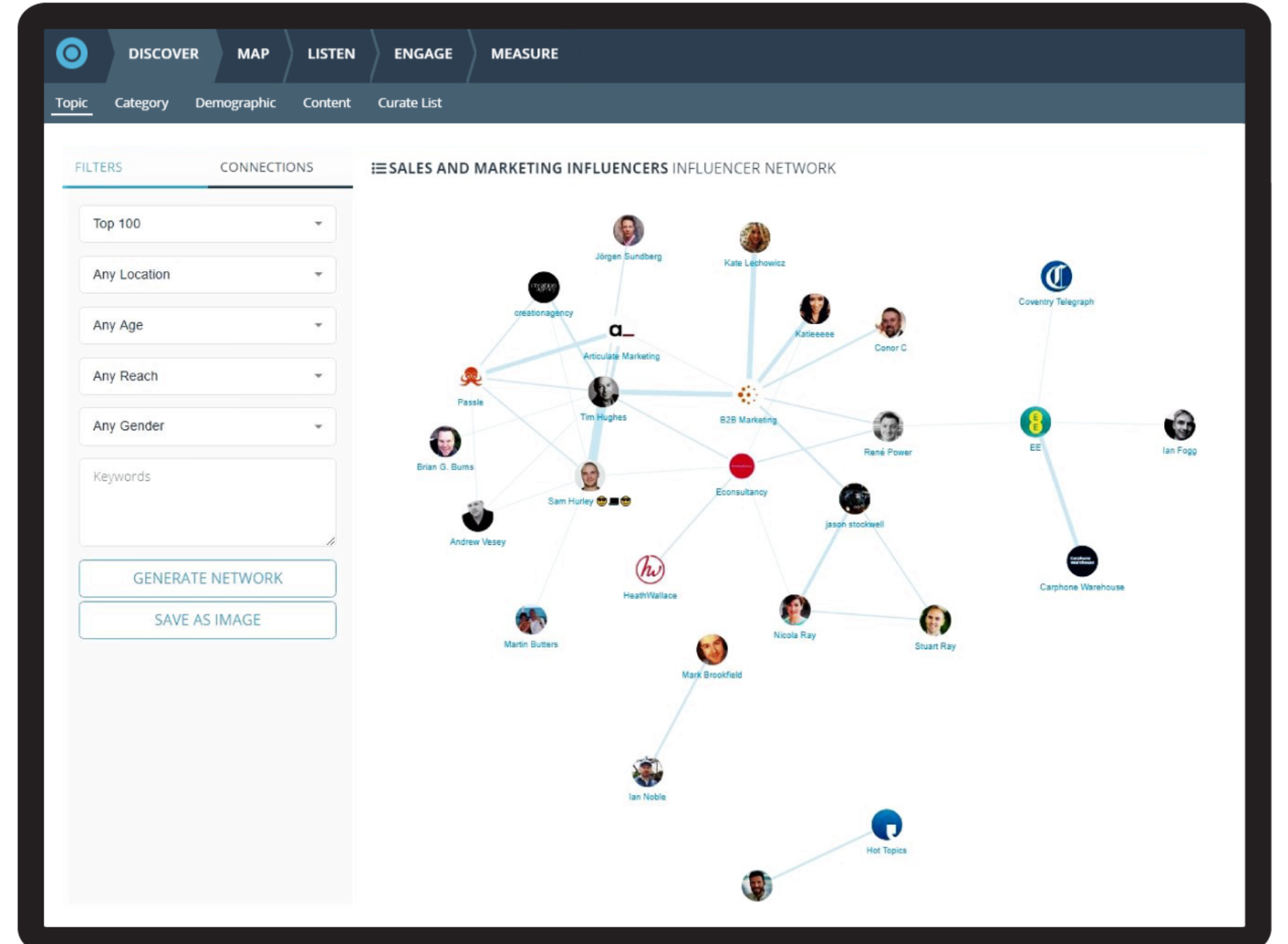 See how influencers interact together on an interactive network map, which can be filtered by location, age, gender and reach