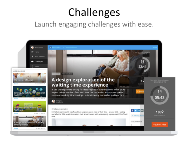 InnovationCast screenshot: Innovation Challenges can be created to encourage participation and gather ideas from customers, employees, partners, and more