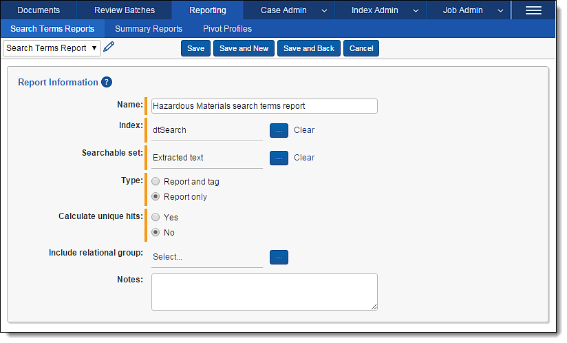 Relativity Software - Search-term reports