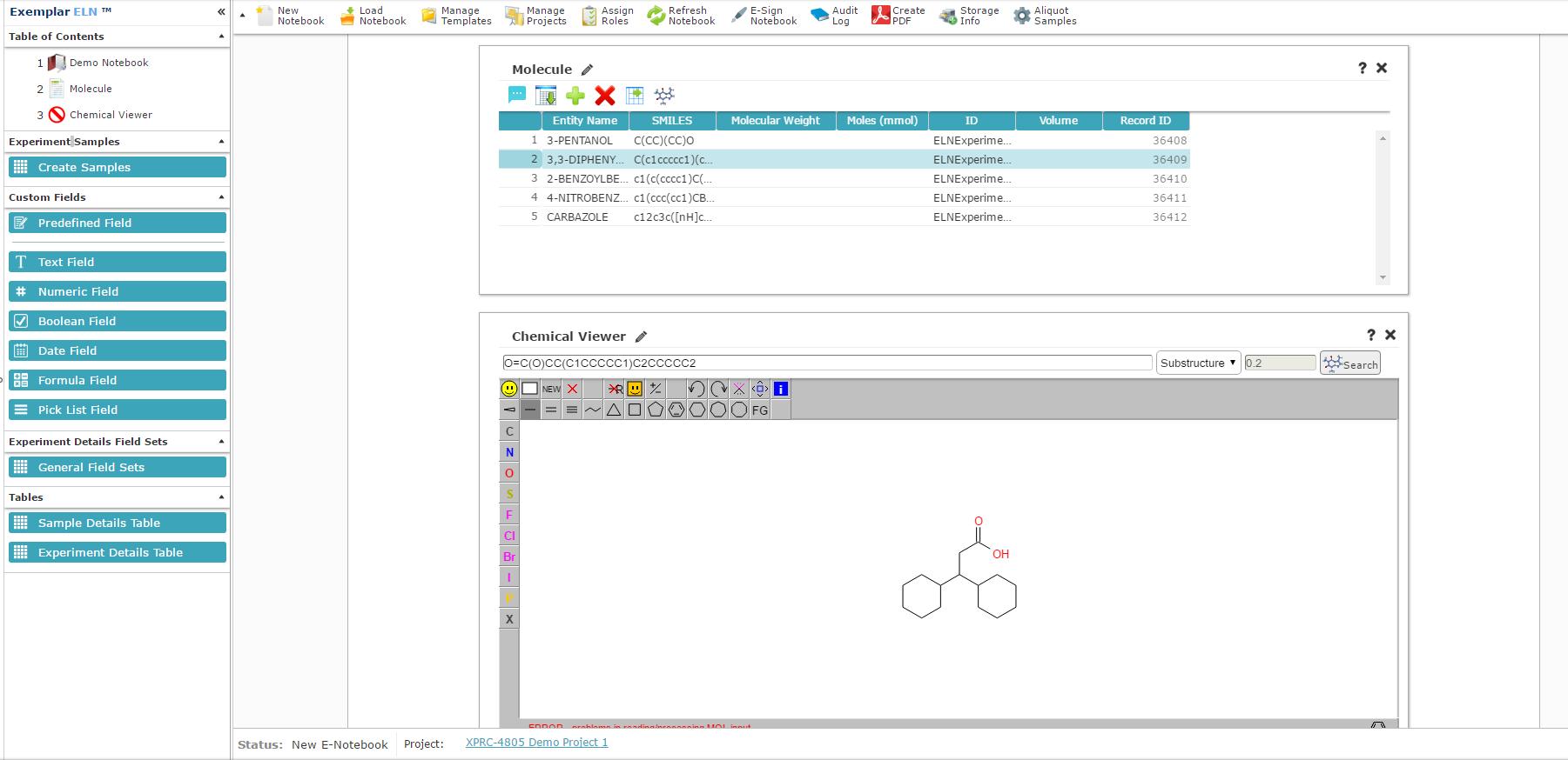 Exemplar LIMS screenshot: Exemplar LIMS electronic laboratory notebook