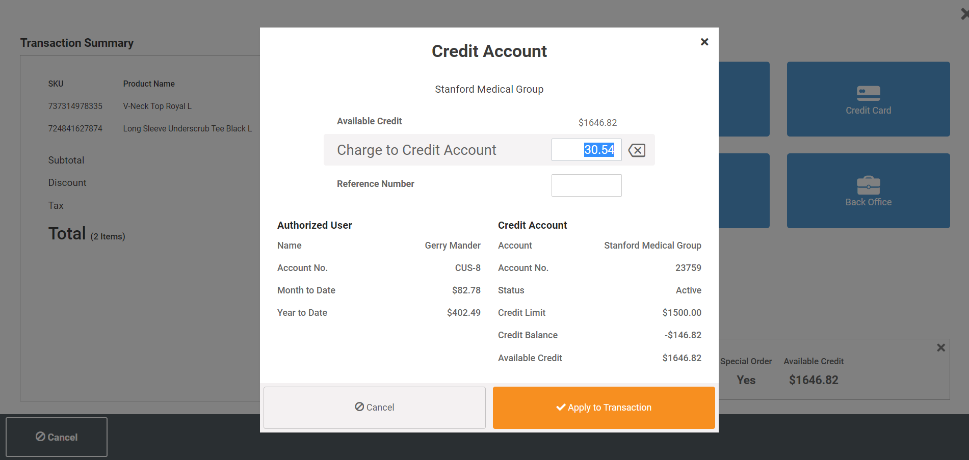 Credit Accounts and Accounts Receivable - Set-up and manage customer credit accounts, allowing your customers to bill their purchases to their employers credit account.  Set credit limits, send out statements and apply payments to the account.