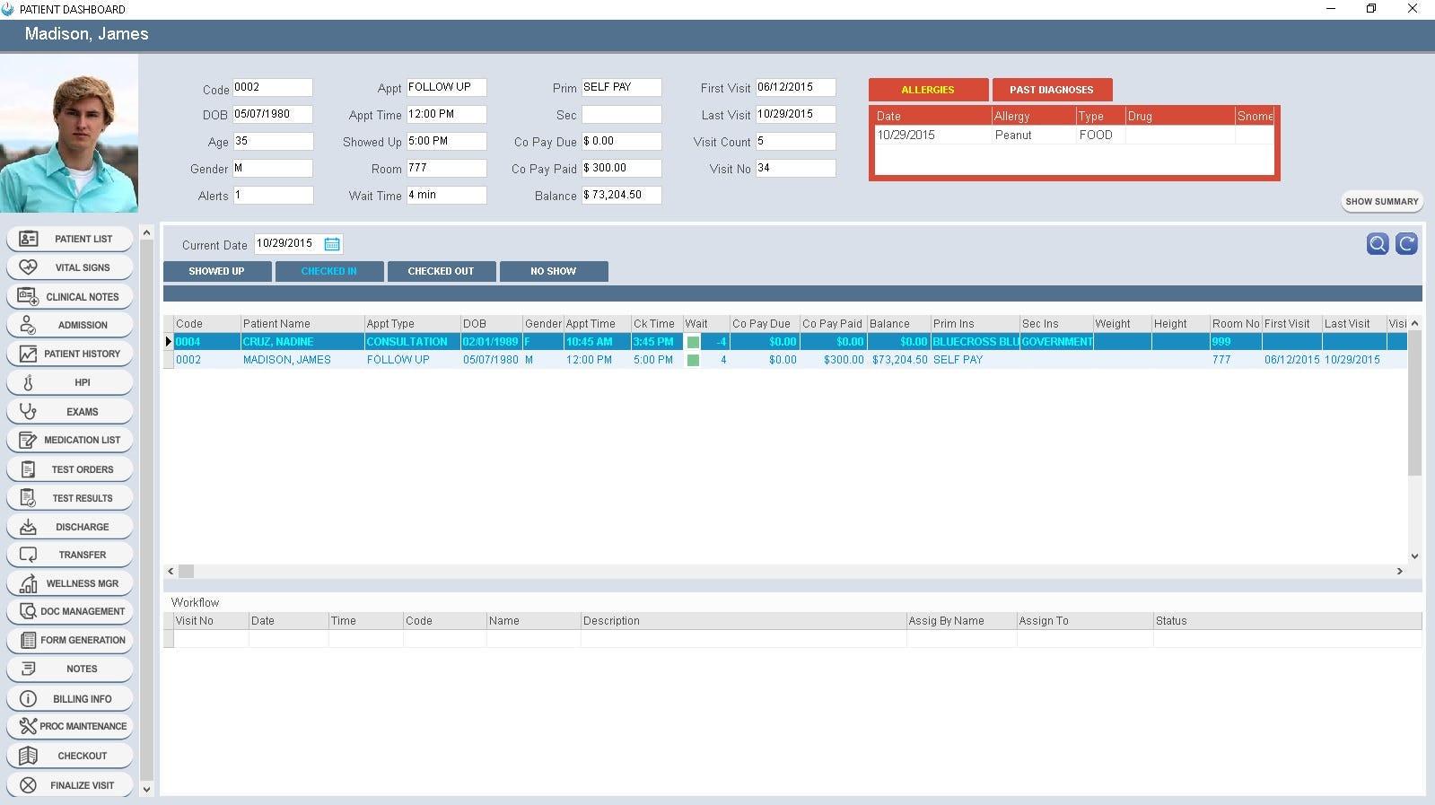 MedEZ Software - Patient dashboard