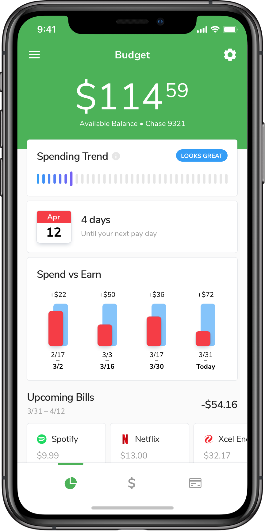 Get an overview of upcoming account, upcoming expenses, and spending