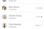 busybusy screenshot: All employees can be tracked from one screen with their hours clearly logged in real time