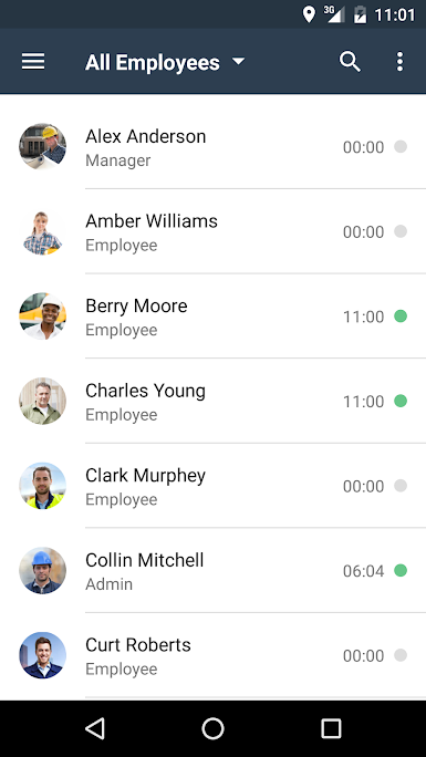 All employees can be tracked from one screen with their hours clearly logged in real time