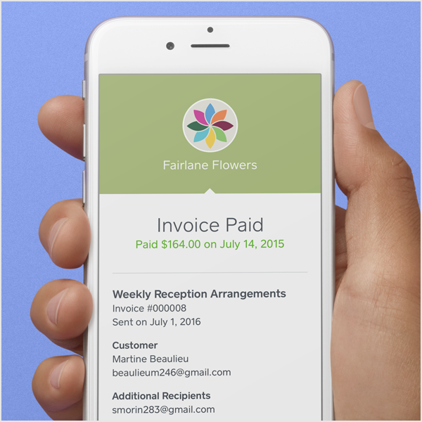 Invoices and payment pages can be customized with company logos and color schemes