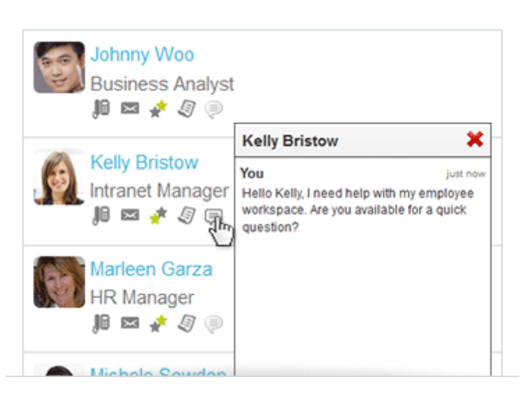 Live chat is available through the People Directory, allowing users to start conversations with employees with a single click