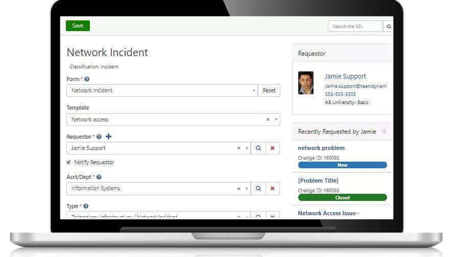 TeamDynamix incident screenshot
